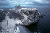 Dunnottar Castle ruined medieval fortress located upon a rocky h — Stock Photo