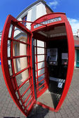 Inside Traditional red telephone box in London, UK — Stock Photo