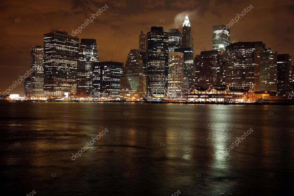 Nighttime in New York, Manhattan  Stock Photo #9446441