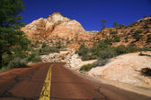 Classic nature of America - Road in Zion NP, Utah, USA — Stock Photo
