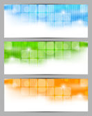 Set of banners with squares — Vector de stock