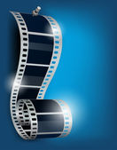 Bobina di film su blu backgorund — Vettoriale Stock