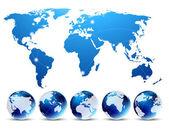 Mappa con globi — Vettoriale Stock