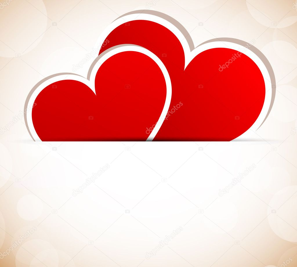 Background with two red hearts — Stock Vector #8457342