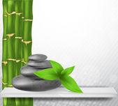 Zen stone with bamboo — Stock Vector