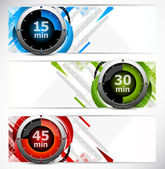 Banners with timers — Vector de stock