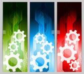 Set of banners with gears — Stock Vector