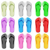 Color flip flop set — Stock Vector