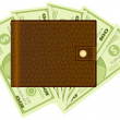 Wallet and dollar banknotes - Imagens vectoriais em stock