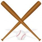 Постер, плакат: Baseball bats and ball