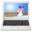 Laptop with winter landscape — Stock Vector