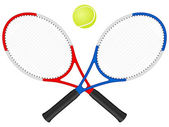 Tennis rackets аnd ball — Vecteur