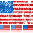 Stock Vector: USA grunge flag set