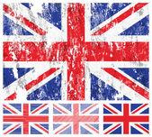 United kingdom grunge flag set — Stock Vector