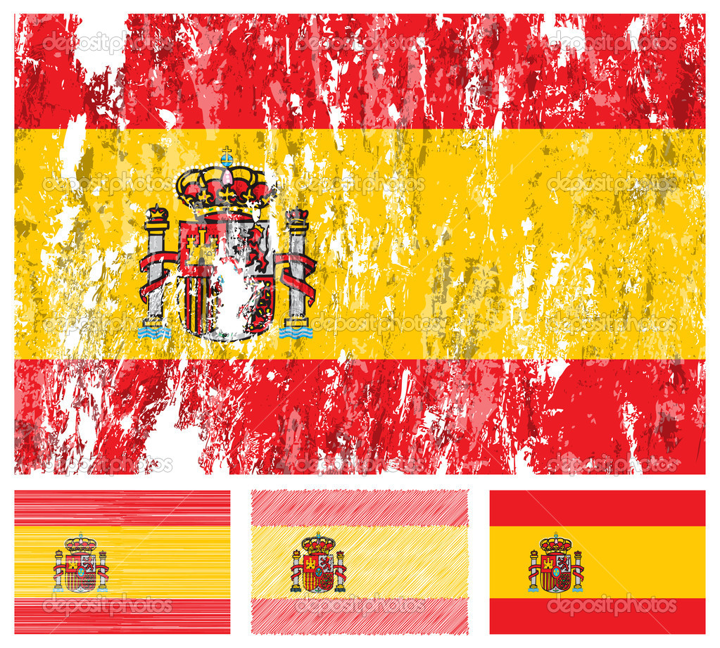 Spain grunge flag set on a white background. Vector illustration.  Stock Vector #8747425