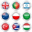 Stock Vector: National flag button set 4