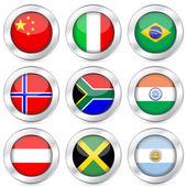 National flag button set 2 — Stock Vector