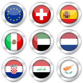 National flag button set 5 — Stock Vector