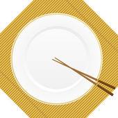 Le bacchette e la piastra sulla copertina di bambù — Vettoriale Stock
