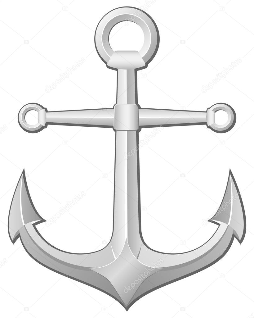 Grey anchor on a white background. Vector illustration. — Stock Vector #9441830