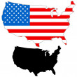 USA map flag - Stock Vector