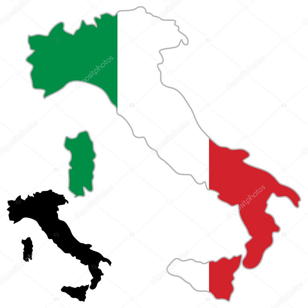 在白色背景上的意大利地图标志.矢量插画– 图库插图