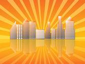 Cidade com laranja de reflexão — Foto Stock