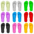 Color flip flop - Stock Vector