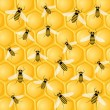 Royalty-Free Stock Vectorielle: Many bees on honeycomb