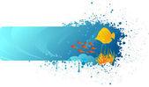 Grunge underwater banner — Stock Vector