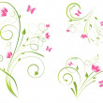 Florals designs and butterflies — Stock Vector