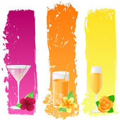 Grunge banners with drinks and flowers — Stock Vector