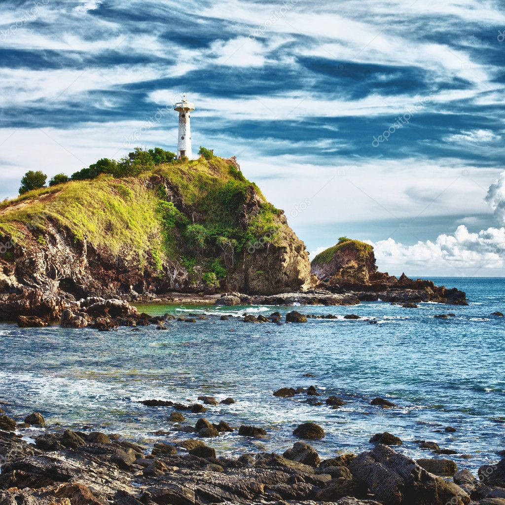 Lighthouse on a cliff, Koh Lanta, Krabi, Thailand  Stock Photo #10066820