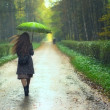 Stock Photo: Girl under Rain
