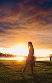 Girl in Sunset — Stock Photo