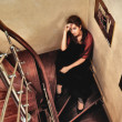 Beautiful Lady on Stairway — Stock Photo