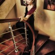 Beautiful Lady on Stairway — Foto de Stock