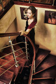 Beautiful Lady on Stairway — Stock Photo