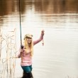 Woman Fishing — Stock Photo #9938808
