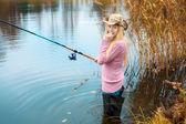 Woman Fishing — Stock Photo