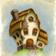Stock Photo: Old card with fairy-tale house