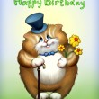 Birthday card with funny cat — Stock Photo #10457525