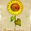 Birthday card with drawing of sunflower — Stock Photo #10457854