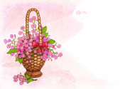 Background with basket of flowers — Stock Photo