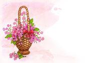 Fundo com cesta de flores — Fotografia Stock