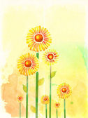 Background card with watercolor flowers — Stock Photo