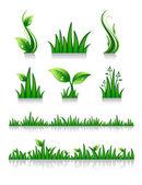 Set of green grass — Stock Vector