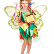 Child with flower and butterfly. — Stock Photo