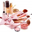 Stock Photo: Decorative cosmetics and flower.
