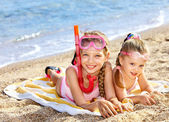 Children playing on beach. Snorkeling. — Stock Photo
